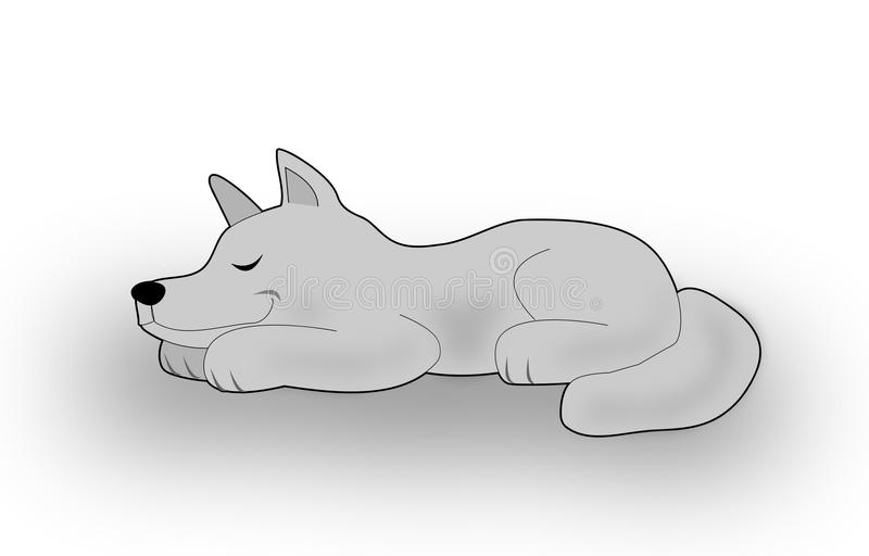 Smiling sleeping Dog. A gray dog or wolf lying and smiling when he is sleeping stock illustration