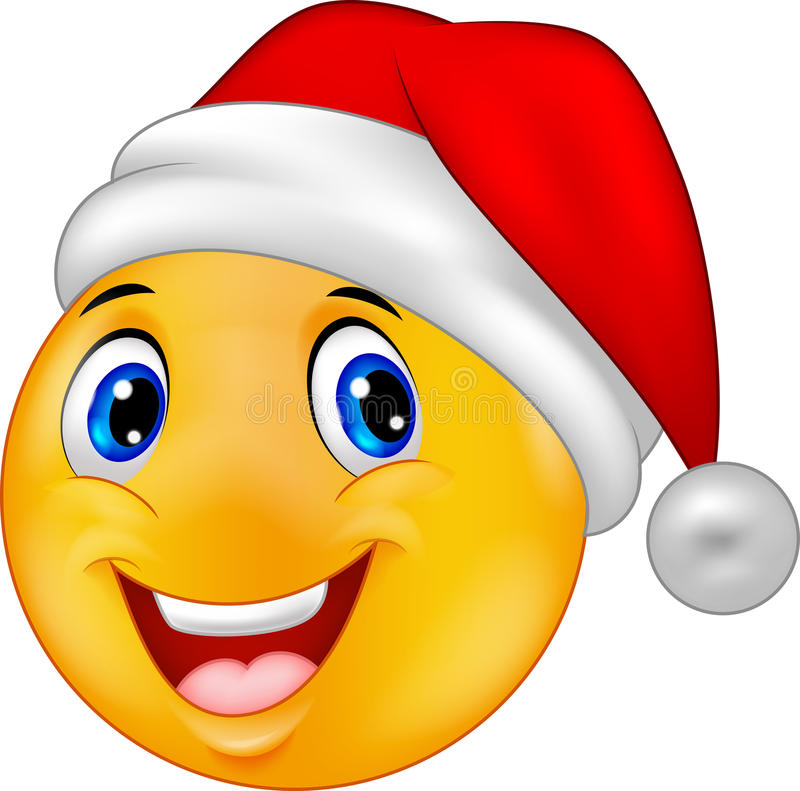 Smiling smiley emoticon in a hat santa royalty free illustration