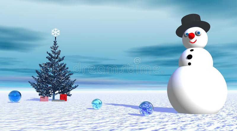 Download Smiling Snowman Near Fir Tree And Gifts Stock Illustration - Image: 11844530