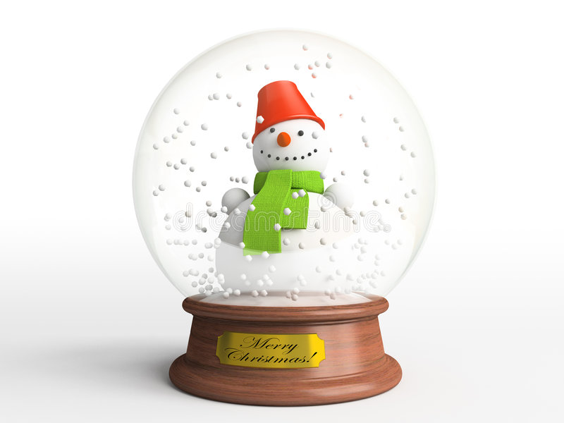 Download Smiling Snowman In Snow Globe Stock Illustration - Image: 3556986