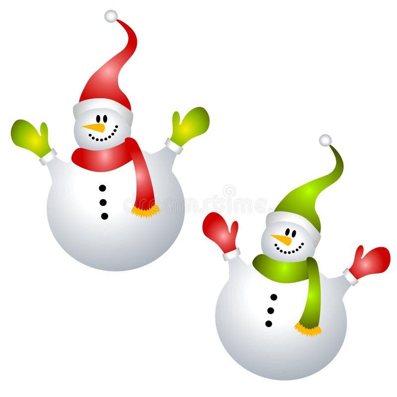 Smiling Snowmen Clip Art Isolated Royalty Free Stock Photo