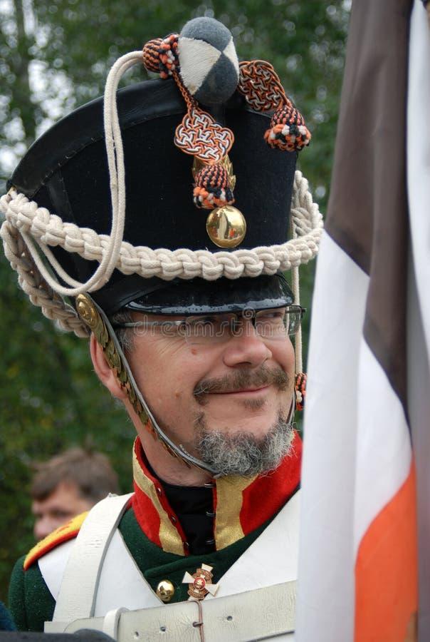 Smiling soldier at Borodino historical reenactment royalty free stock photos
