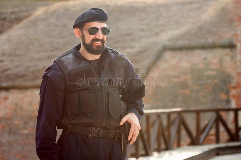 Smiling security man royalty free stock photography