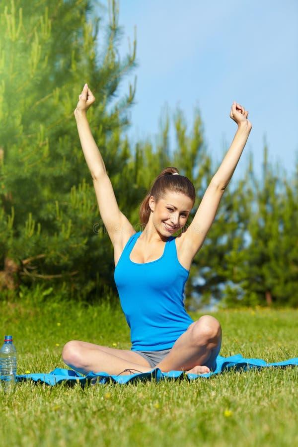 Download Smiling Sport Fitness Model Outside Stock Image - Image: 25052403
