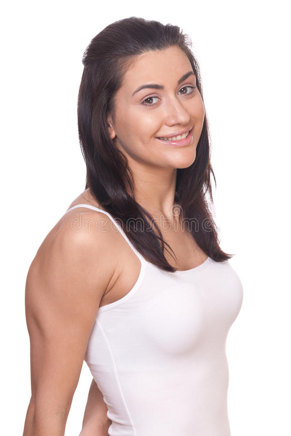 Smiling sporty girl. On isolated white royalty free stock photos