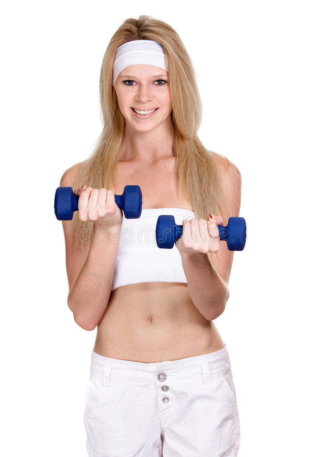 Download Smiling Sporty Woman With A Dumbbell Stock Image - Image: 20062985