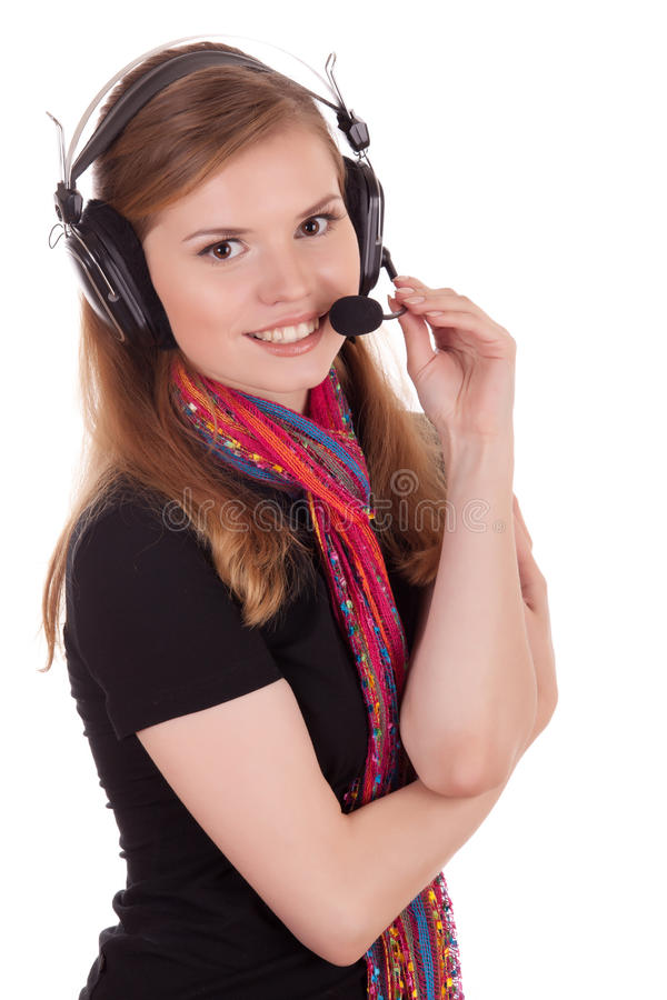 Smiling staff call center royalty free stock photography