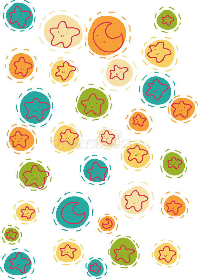Smiling stars and moons pattern stock image