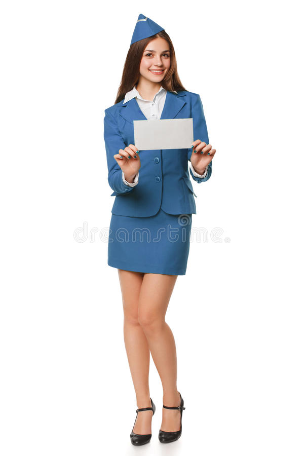 Smiling stewardess woman holding envelope. Post letter, delivery service or airmail stock photos