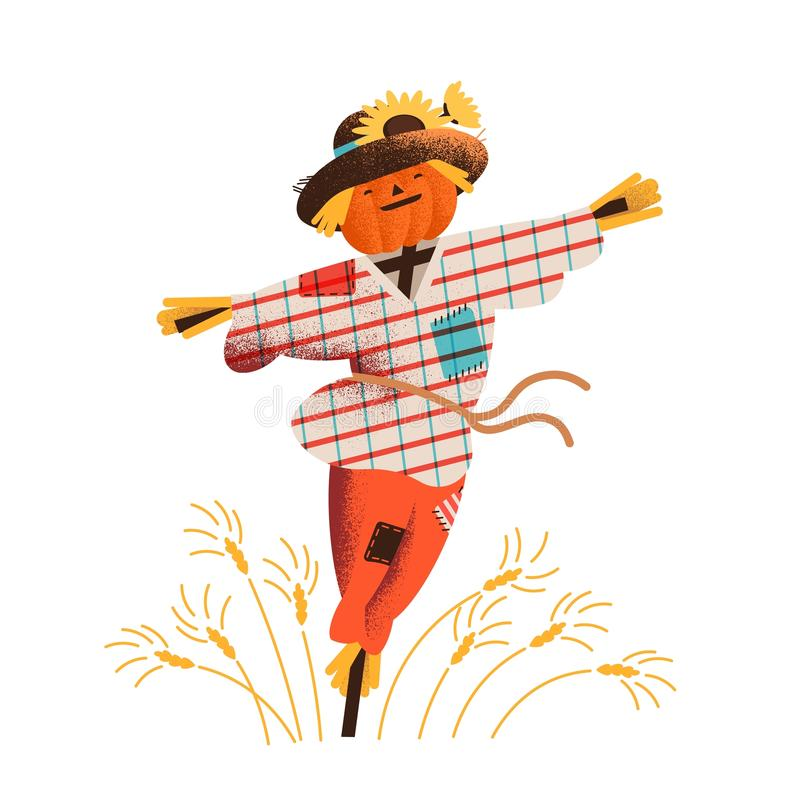 Smiling straw scarecrow dressed in old clothes and hat standing on field with growing crops. Cute happy bird scarer in stock illustration