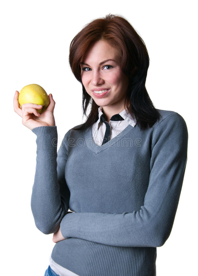 Download Smiling student with apple stock image. Image of adult - 30551103