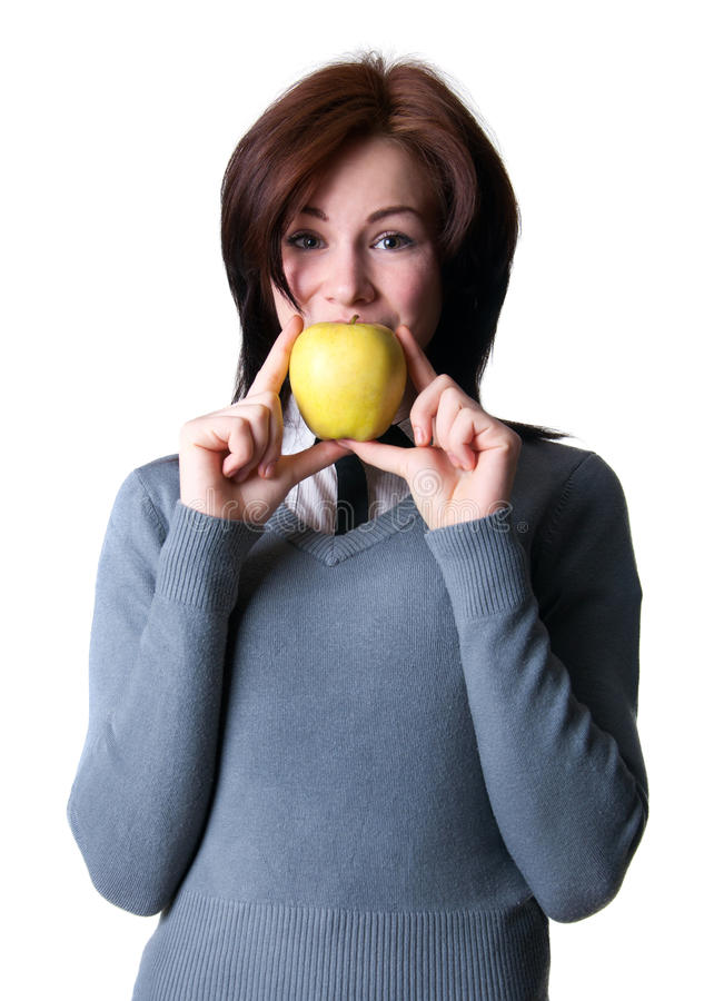 Download Smiling student with apple stock photo. Image of happy - 30910546