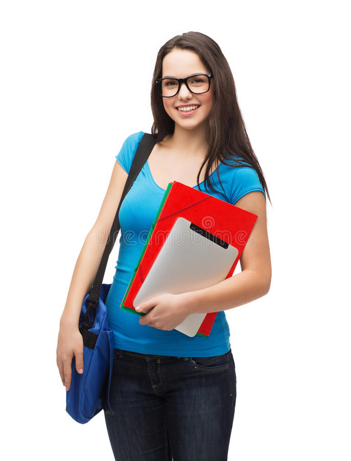 Smiling student with bag, folders and tablet pc. Education, technology and people concept - smiling student wearing black eyeglasses with bag, folders and tablet stock photos