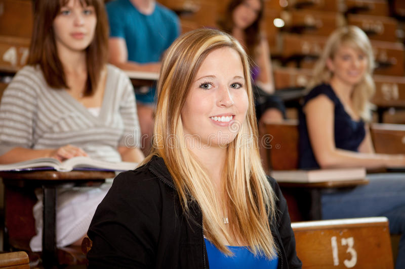 Smiling Student in Class royalty free stock photography