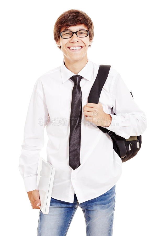 Smiling student with laptop stock images