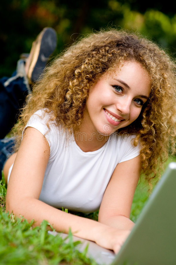 Download Smiling Student Outside stock image. Image of curly, beauty - 4957981
