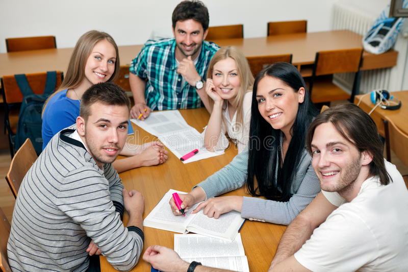 Smiling students group stock photography