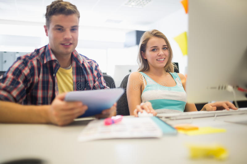 Download Smiling Students Working Together In The Computer Room Stock Photo - Image: 37367650