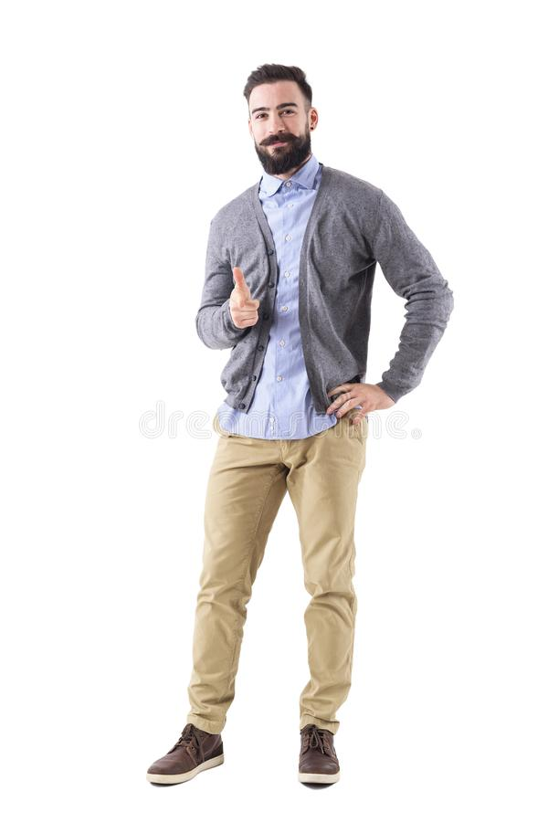Free Smiling Stylish Bearded Modern Business Man Pointing Finger At You Looking At Camera. Royalty Free Stock Photography - 108116577