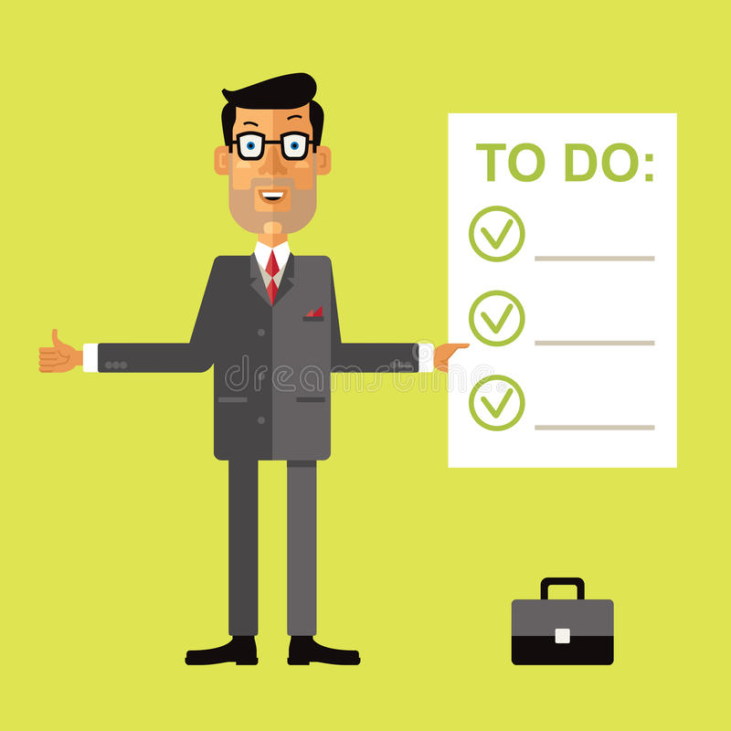 Smiling successful business man holding clipboard with to do check list. Vector illustration in flat design style on green background royalty free illustration