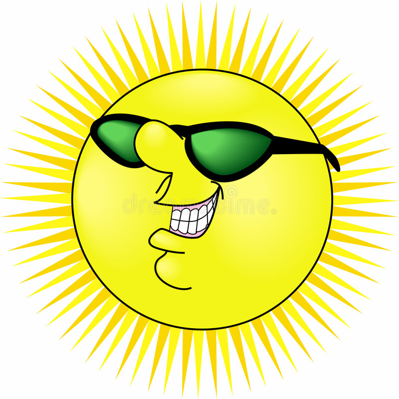 Smiling_sun. Raster cartoon graphic depicting the concept: SUMMER vector illustration