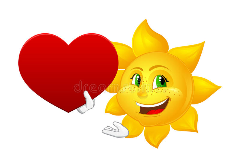 Smiling sun with big heart vector illustration