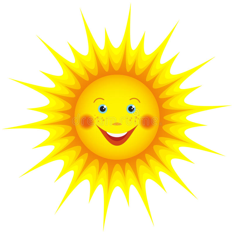 Smiling Sun Cartoon Isolated Over White Stock Vector