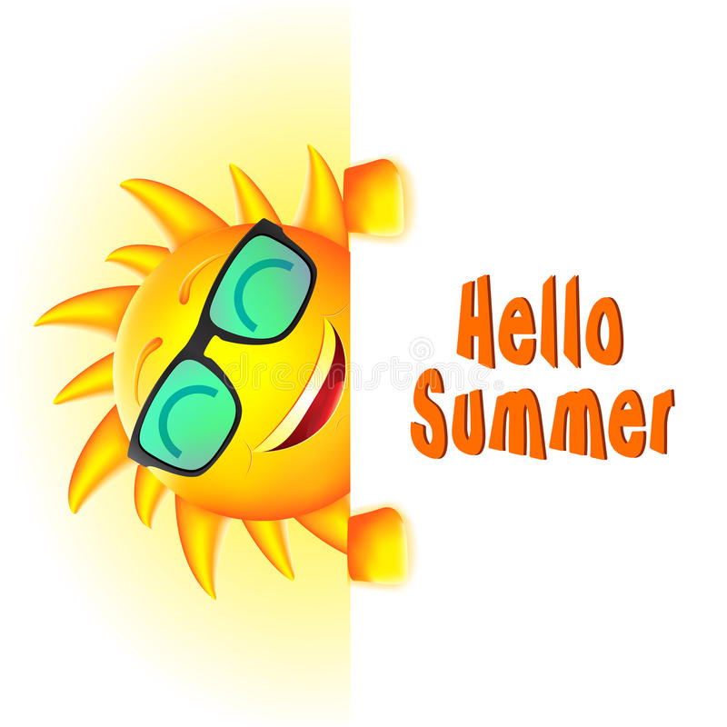 Free Smiling Sun Character With Hello Summer Text And White Space Stock Image - 69177211