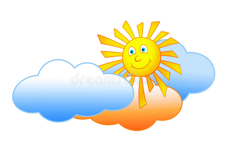 Smiling sun and clouds stock illustration