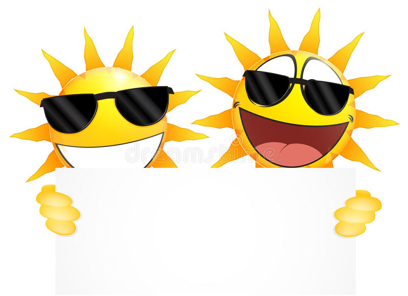 Smiling sun Emoticon holding a Blank sign vector illustration