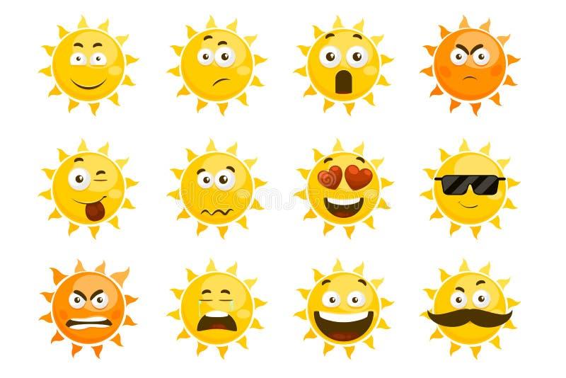 Smiling sun emoticons. Vector cartoon smile set royalty free illustration