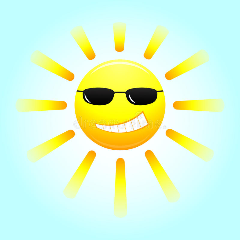 Smiling sun with glasses stock illustration