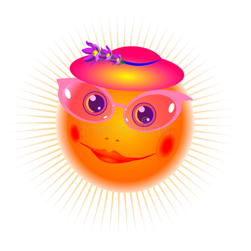 The smiling sun in pink glasses vector vector illustration