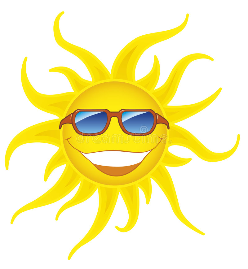 Smiling sun with sunglasses royalty free illustration
