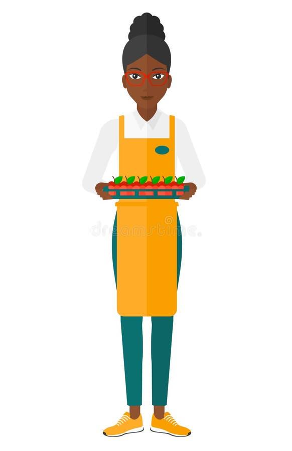 Smiling supermarket worker royalty free illustration