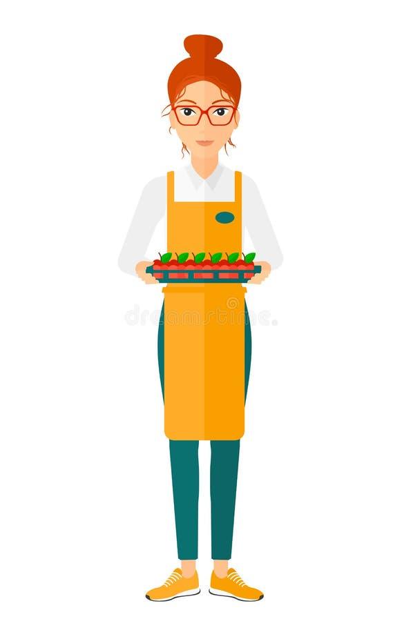 Smiling supermarket worker vector illustration