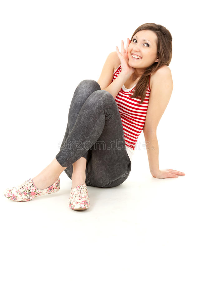 Smiling Surprised Young Woman, Full Length Royalty Free Stock Photos