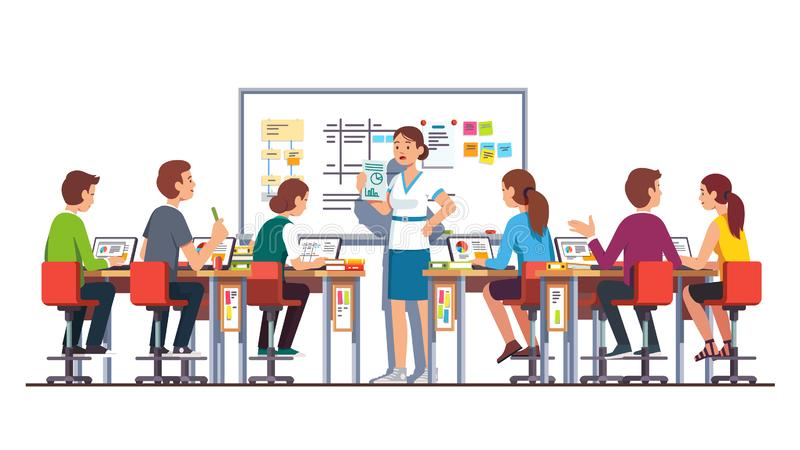 Teacher Woman Giving Task To Students Studying Stock Vector - Illustration  of corporate, clipart: 159197661