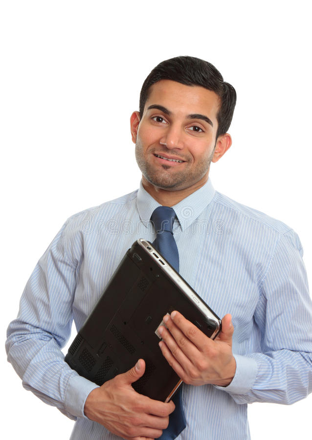 Smiling IT technician consultant salesman stock images
