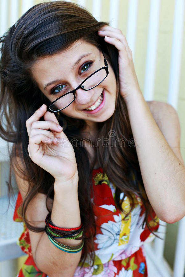 Download Smiling teen stock image. Image of healthy, glasses, happy - 14236049