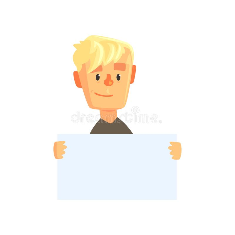 Smiling teen boy character with piece of blank paper. Cartoon kid in black t-shirt. Guy showing banner with place for vector illustration