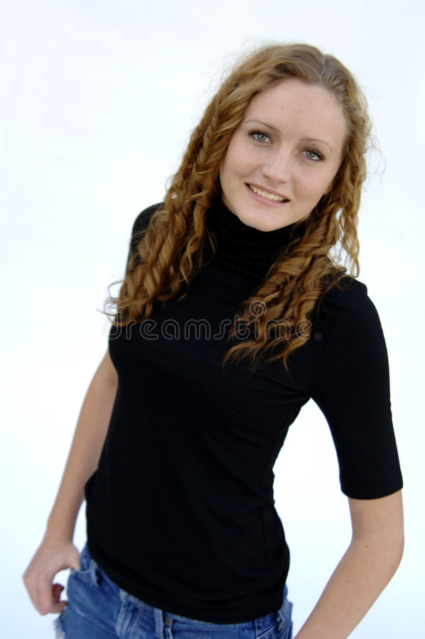 Smiling Teen With Curly Hair Royalty Free Stock Image
