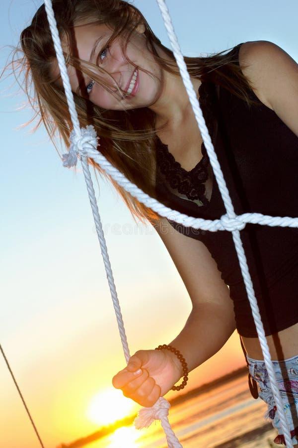 Download Smiling Teen Girl At Sunset Stock Image - Image: 28420259