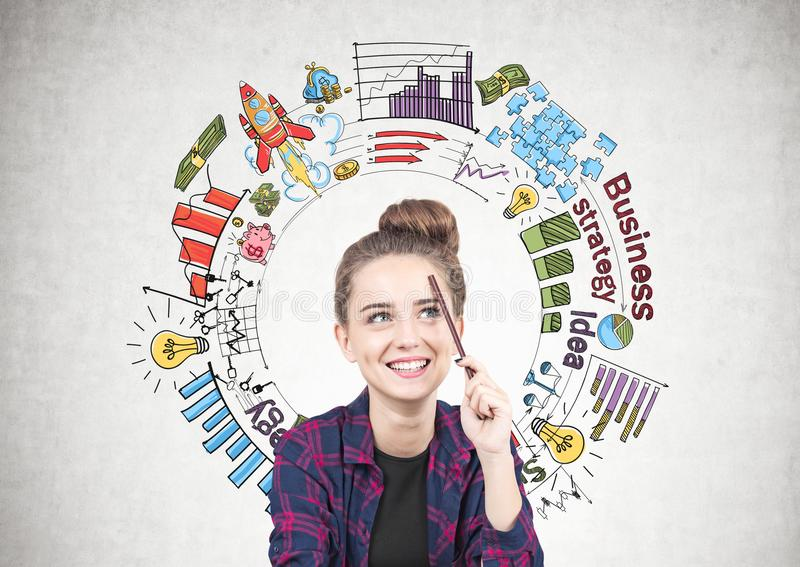 Smiling teen girl thinking, business strategy stock photos