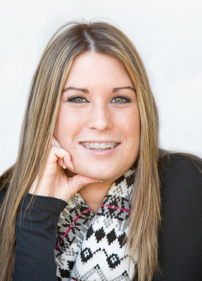 Smiling Teenage Girl. With Long Hair and Scarf stock image