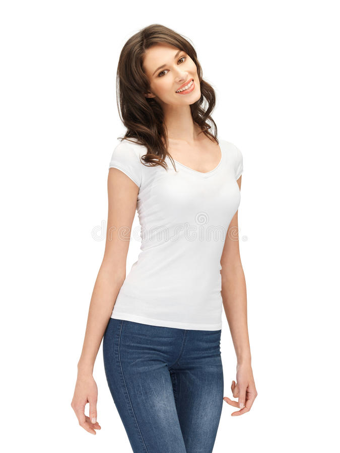 Download Smiling Teenage Girl In Blank White T-shirt Stock Photo - Image: 26069762