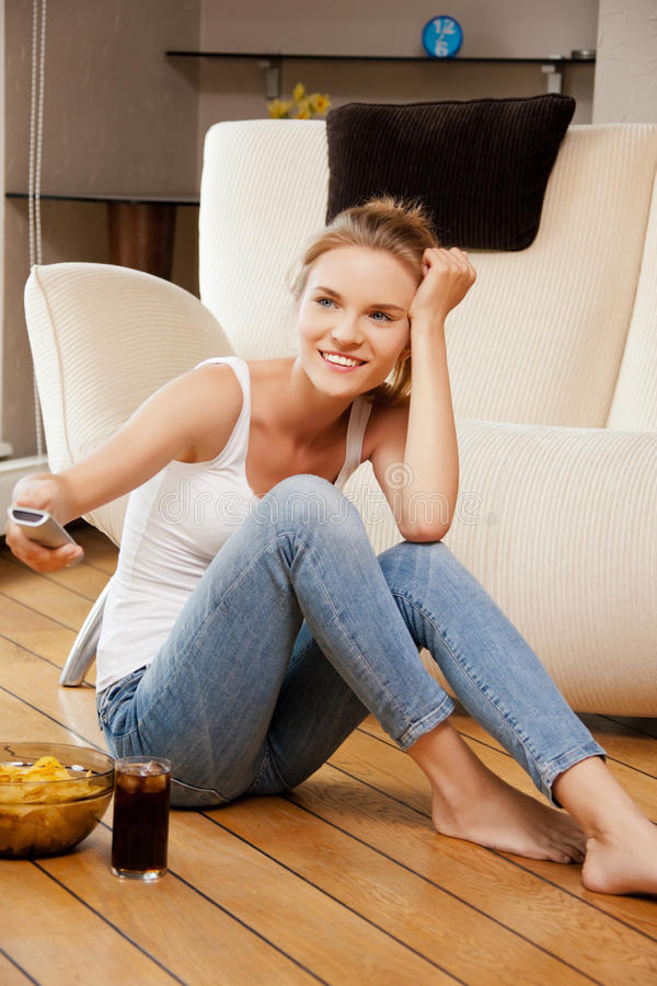 Download Smiling Teenage Girl With Remote Control Stock Image - Image of happiness, coke: 39515089