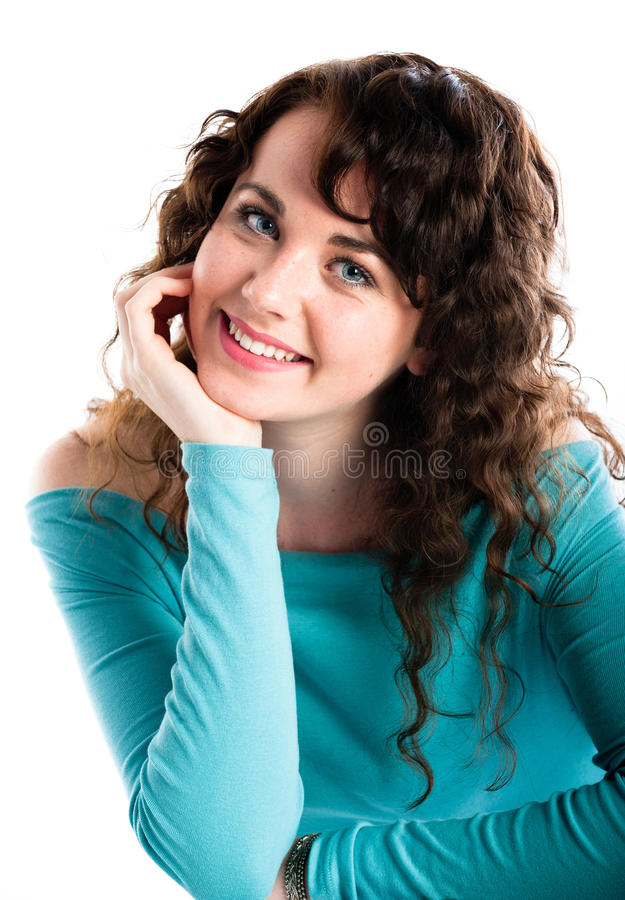 Smiling teenage girl in turquoise, smiling stock images
