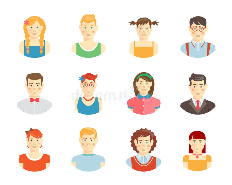 Smiling teenager faces vector illustration