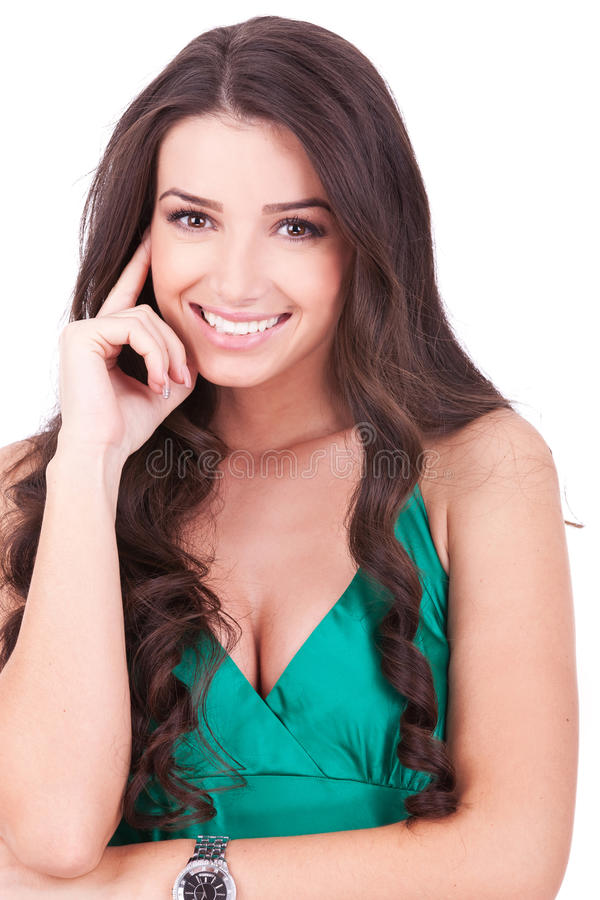 Smiling thinking woman stock photography